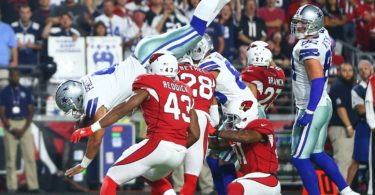 Dallas Cowboys quarterback Dak Prescott soars in for a touchdown on Monday Night Football