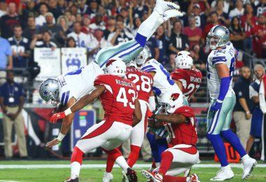 Dallas Cowboys quarterback Dak Prescott soars in for a touchdown on Monday Night Football