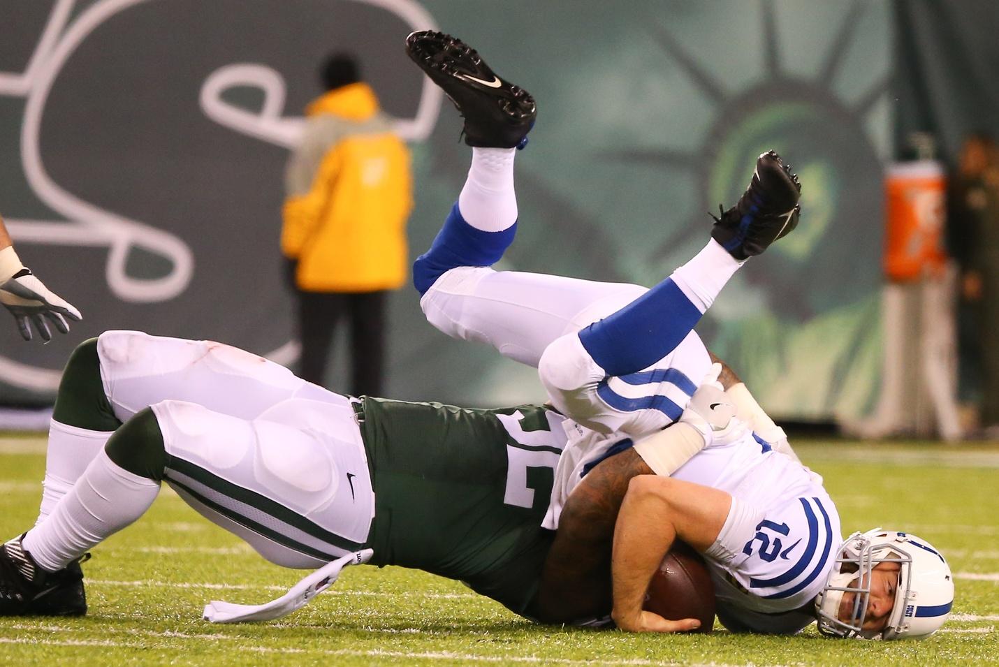 New York Jets defensive end Leonard Williams sacks Indianapolis Colts quarterback Andrew Luck