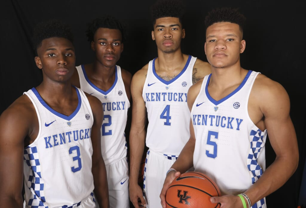 SEC basketball Kentucky Wildcats guard forward Hamidou Diallo (3) , forward Jarred Vanderbilt (2) , forward Nick Richards (4) and forward Kevin Knox (5)