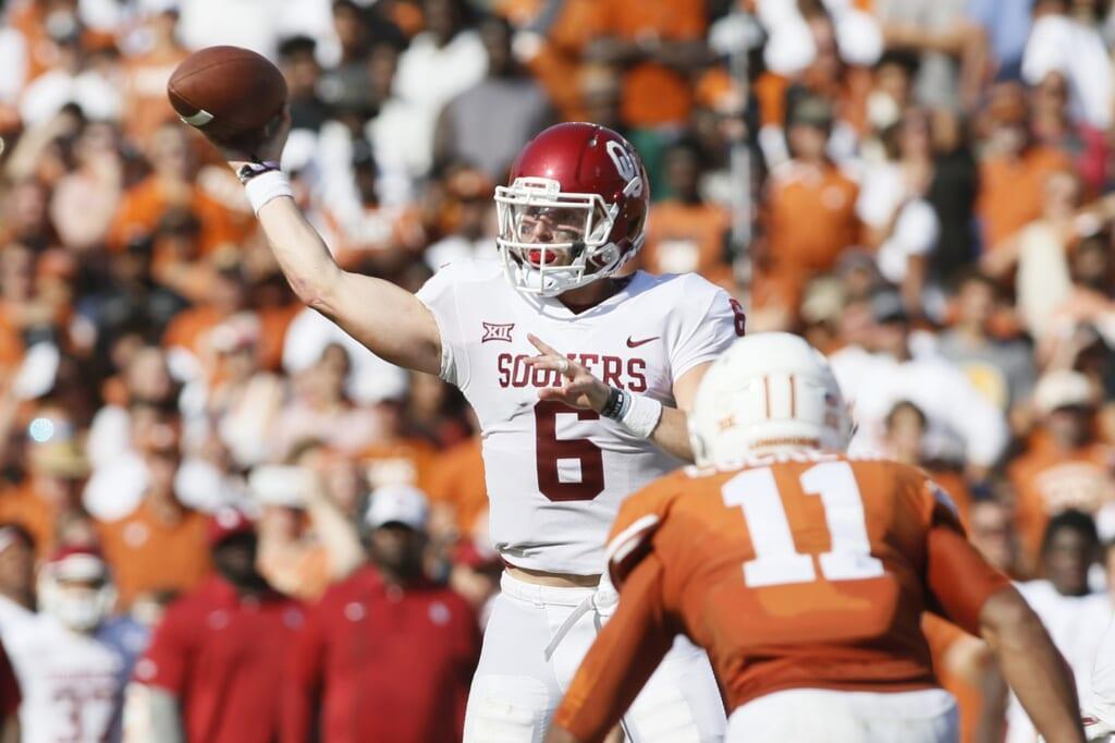 Oklahoma Sooners quarterback Baker Mayfield against Texas in college football Week 7