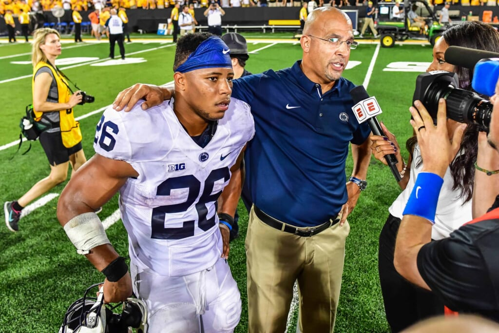 Saquon Barkley Heisman candidate and head coach James Franklin