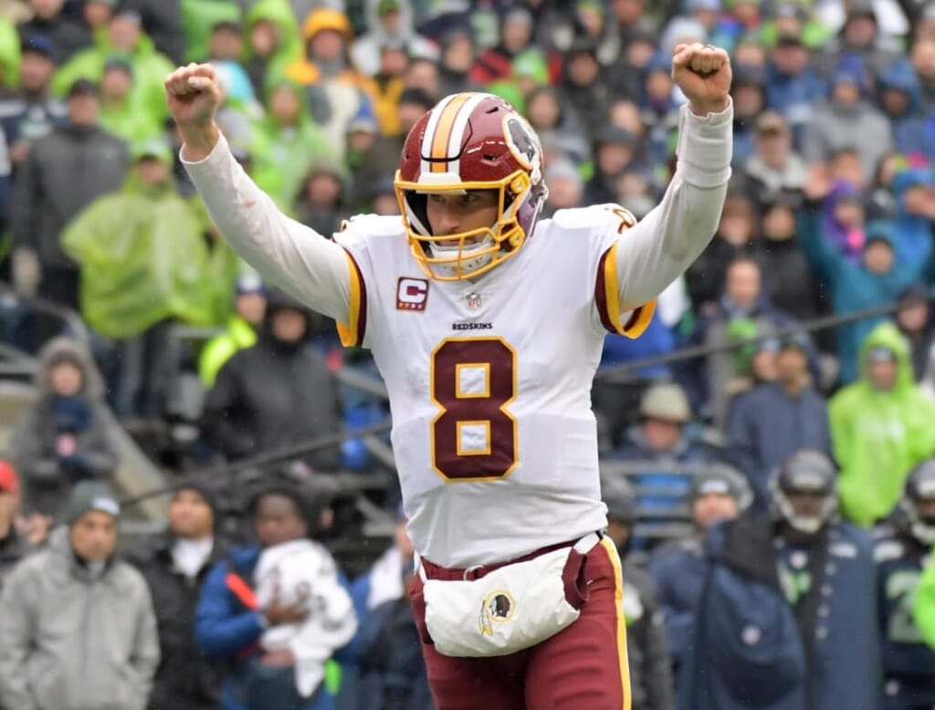 Kirk Cousins celebrates during the Redskins-Seahawks game
