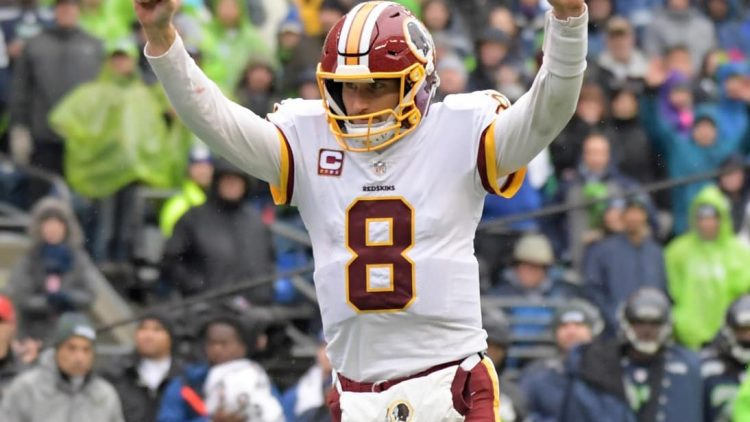 One of the hottest up and coming NFL free agents, Kirk Cousins celebrates during the Redskins-Seahawks game