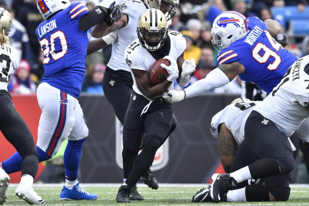 Saints running back Alvin Kamara against the Buffalo Bills in NFL Week 10