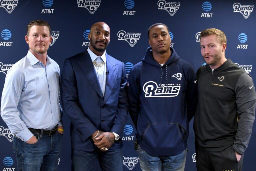 NFL cornerbacks Aqib Talib and Marcus Peters of the Los Angeles Rams