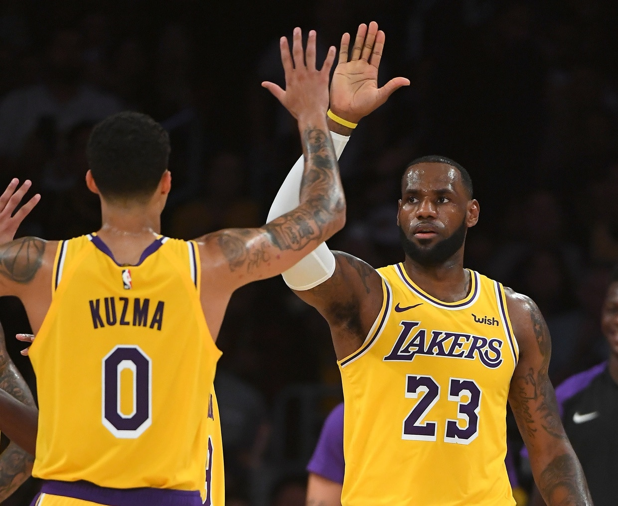 c43d2f3dc96 LOOK  Kyle Kuzma wearing same shoes LeBron wore during first NBA practice