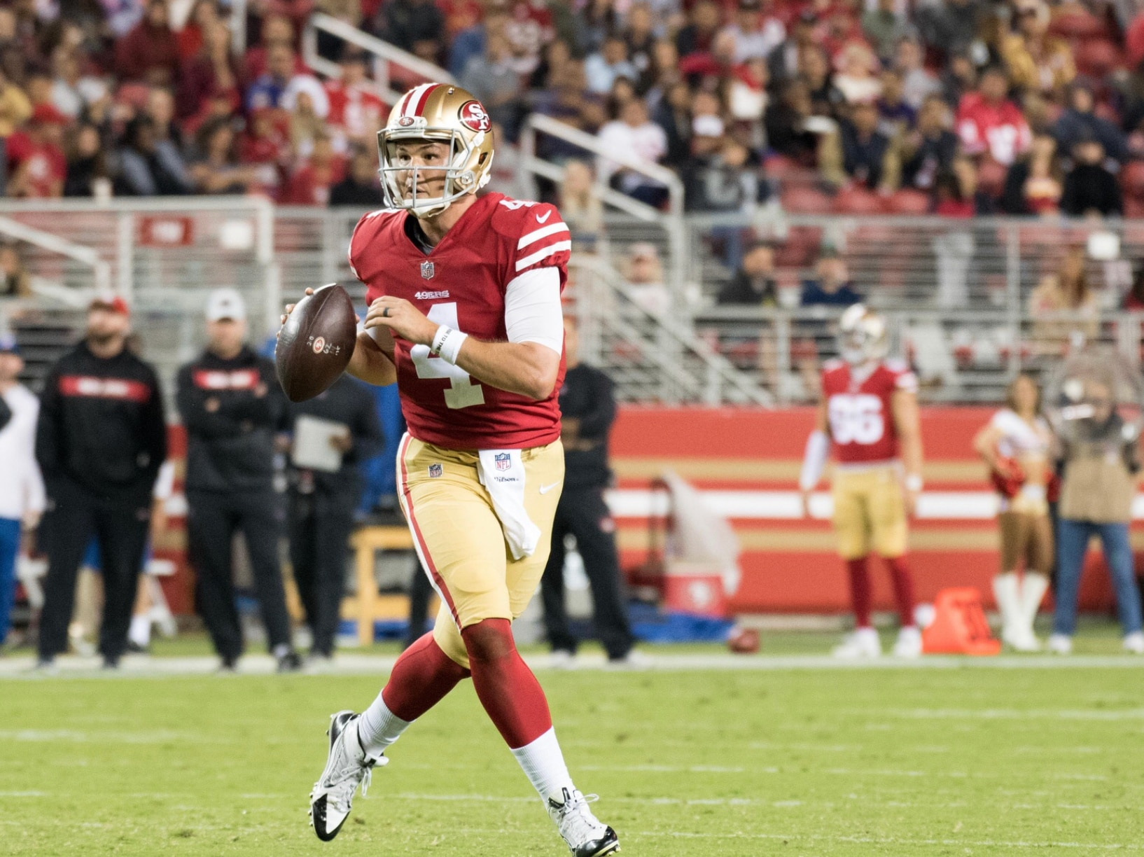 a2a16260faa Kyle Terada-USA TODAY Sports. Facebook · Twitter · LinkedIn · Email. San  Francisco 49ers quarterback Nick Mullens ...