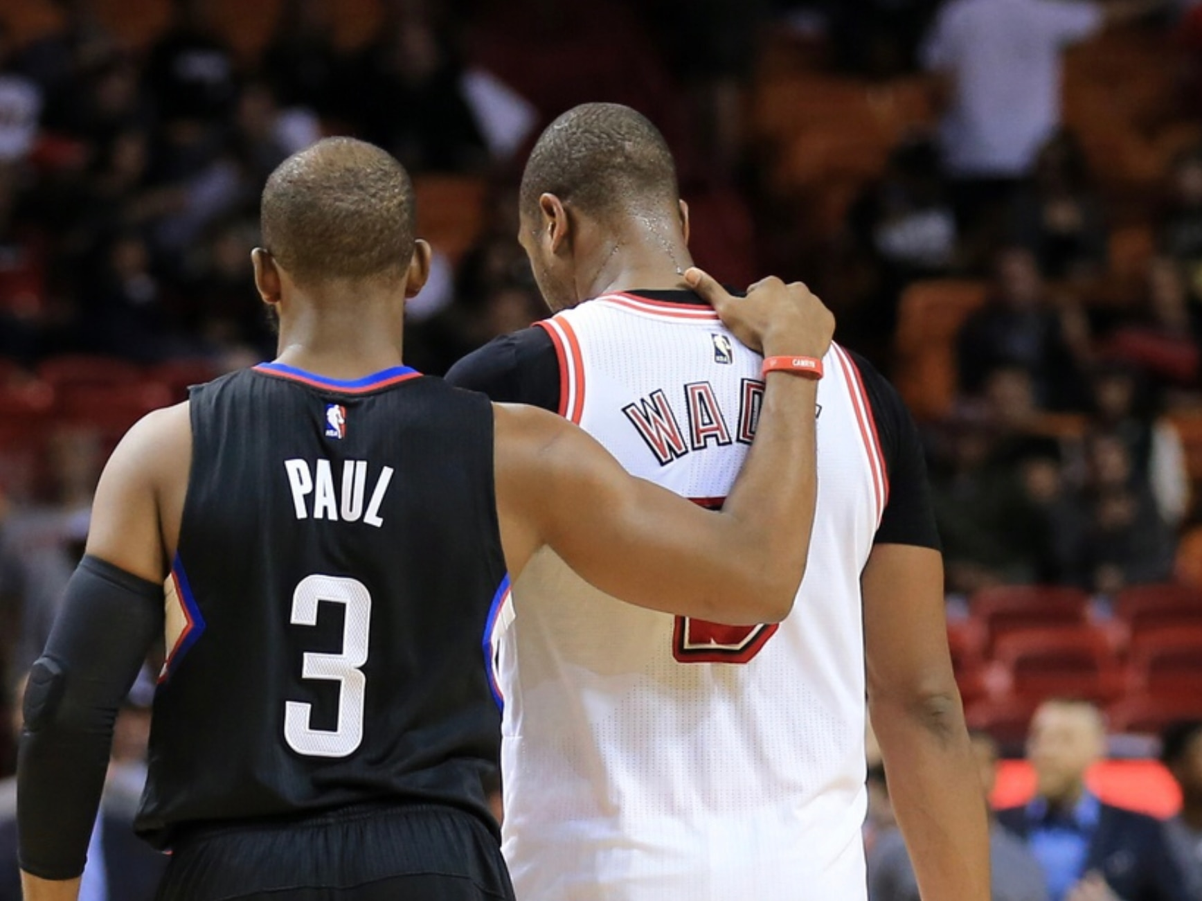 320ba009f413 WATCH  Future Hall of Famers Chris Paul and Dwyane Wade swap jerseys