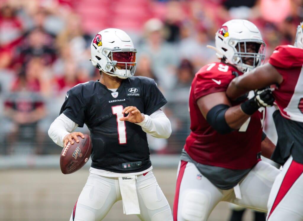 Aug 1, 2019; Glendale, AZ, USA; Arizona Cardinals quarterback Kyler Murray (1) during trading camp practice at State Farm Stadium. Mandatory Credit: Mark J. Rebilas-USA TODAY Sports