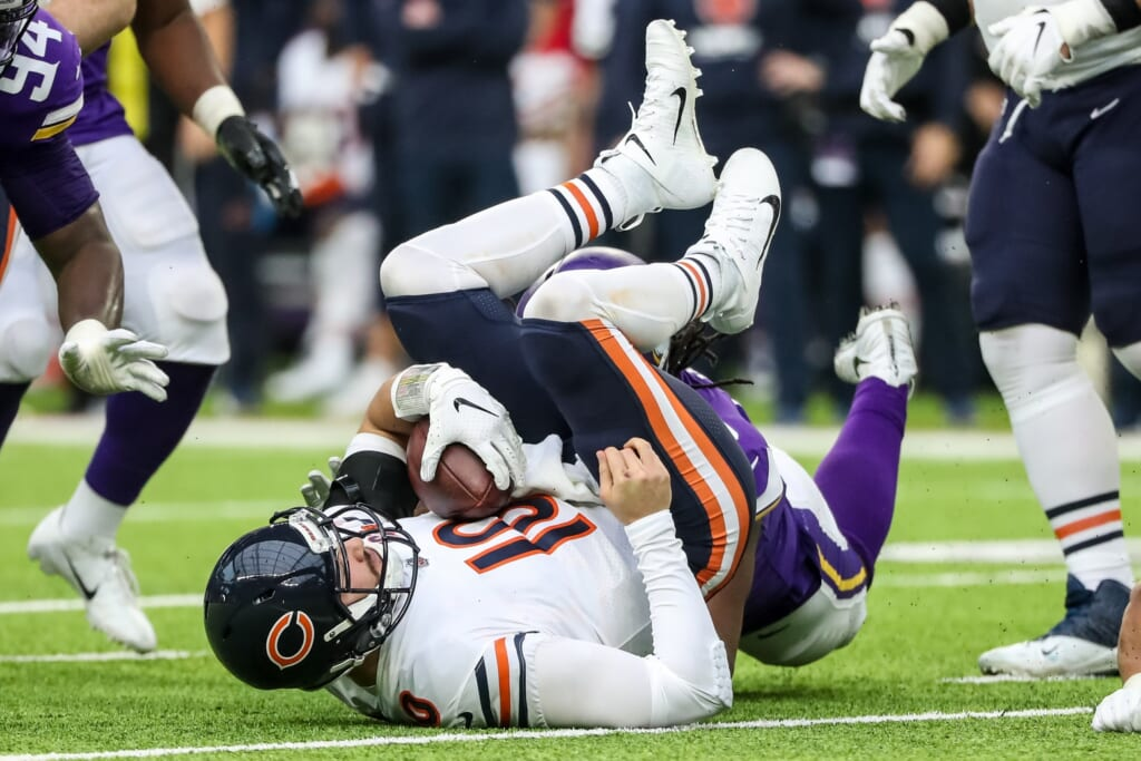 Bears QB Mitchell Trubisky sacked by the Vikings