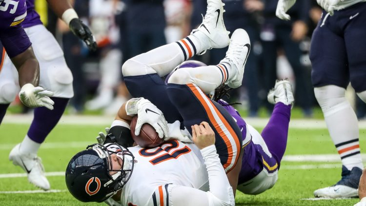 Chicago Bears QB Mitchell Trubisky sacked by the Vikings