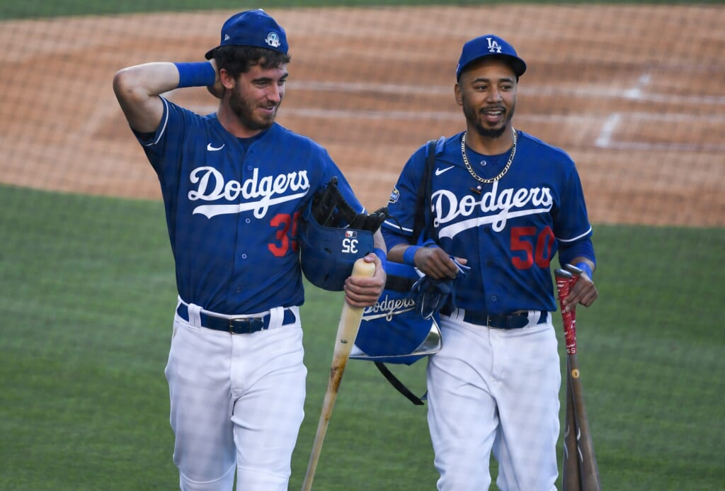 Los Angeles Dodgers outfielders Cody Bellinger and Mookie Betts
