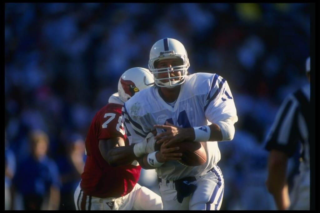 Colts quarterback Jeff George fumbles