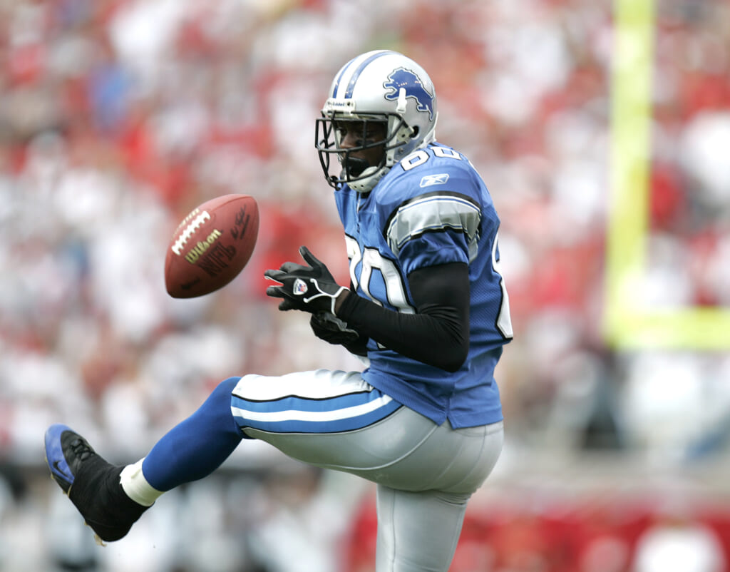 Detroit Lions wide receiver Charles Rogers drops a pass