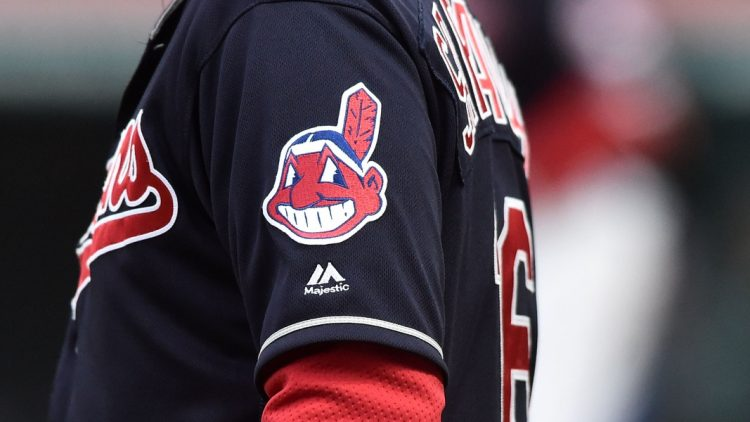 Cleveland Indians Logo during game against the Kansas City Royals