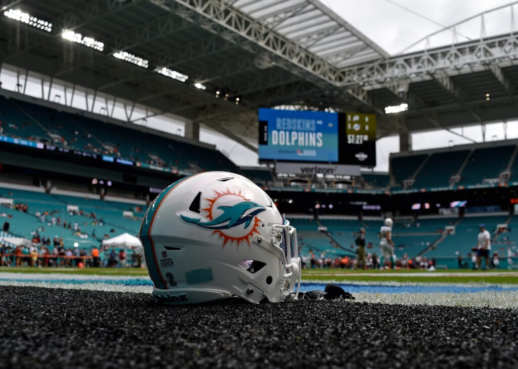 Dolphins helmet on field before game