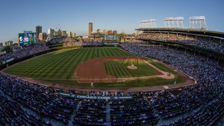 General view of Chicago Cubs Wrigley Field during MLB game