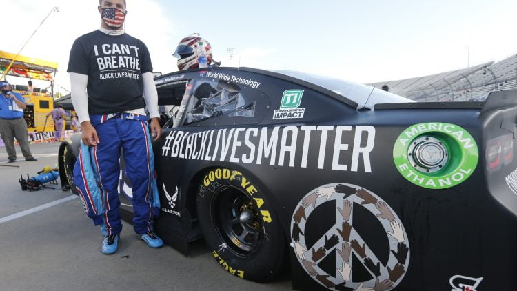 Bubba Wallace wears I Can't Breathe shirt, sports Black Lives Matter racing car at NASCAR event