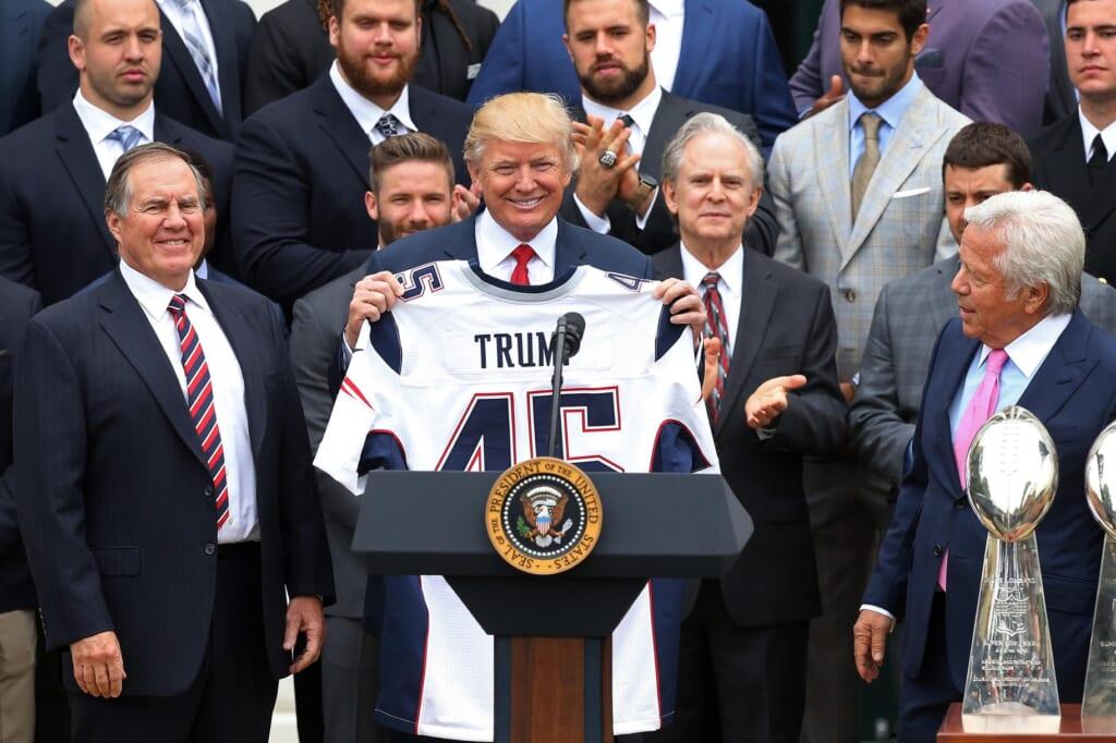 President Donald Trump at podium