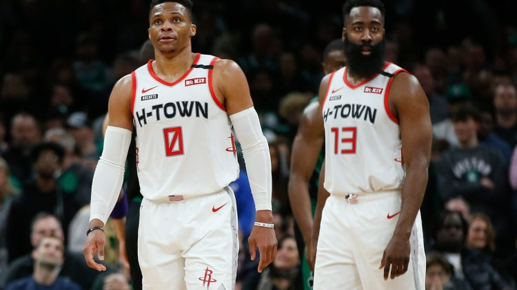 James Harden and Russell Westbrook against the Celtics