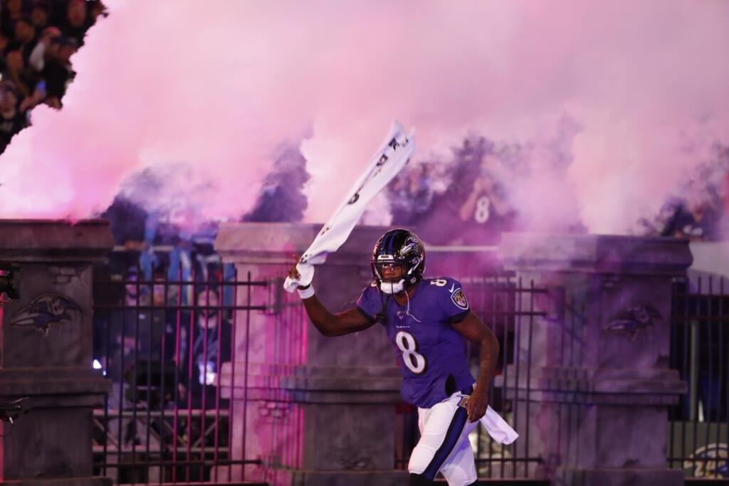 Lamar Jackson of the Baltimore Ravens running out of the tunnel - NFL Week 2