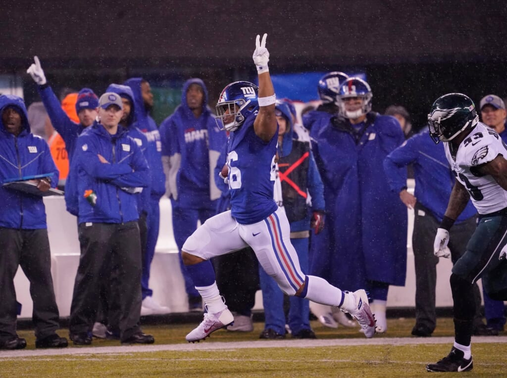 New York Giants running back Saquon Barkley celebrates