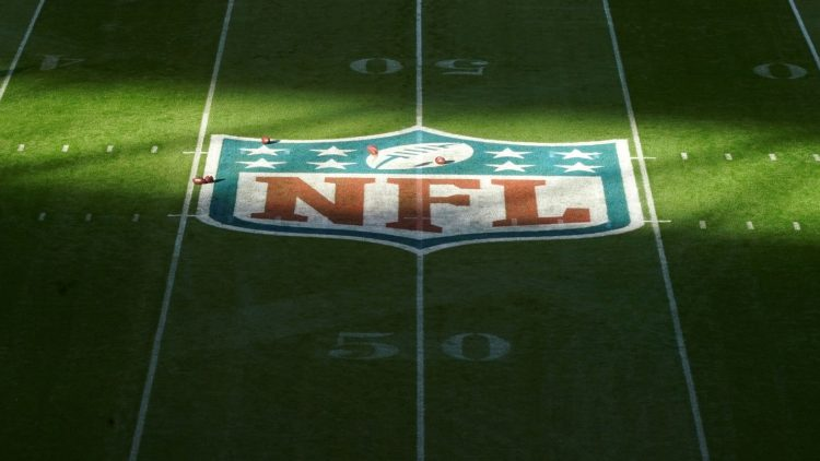 NFL logo during Rams-Bengals game in London.