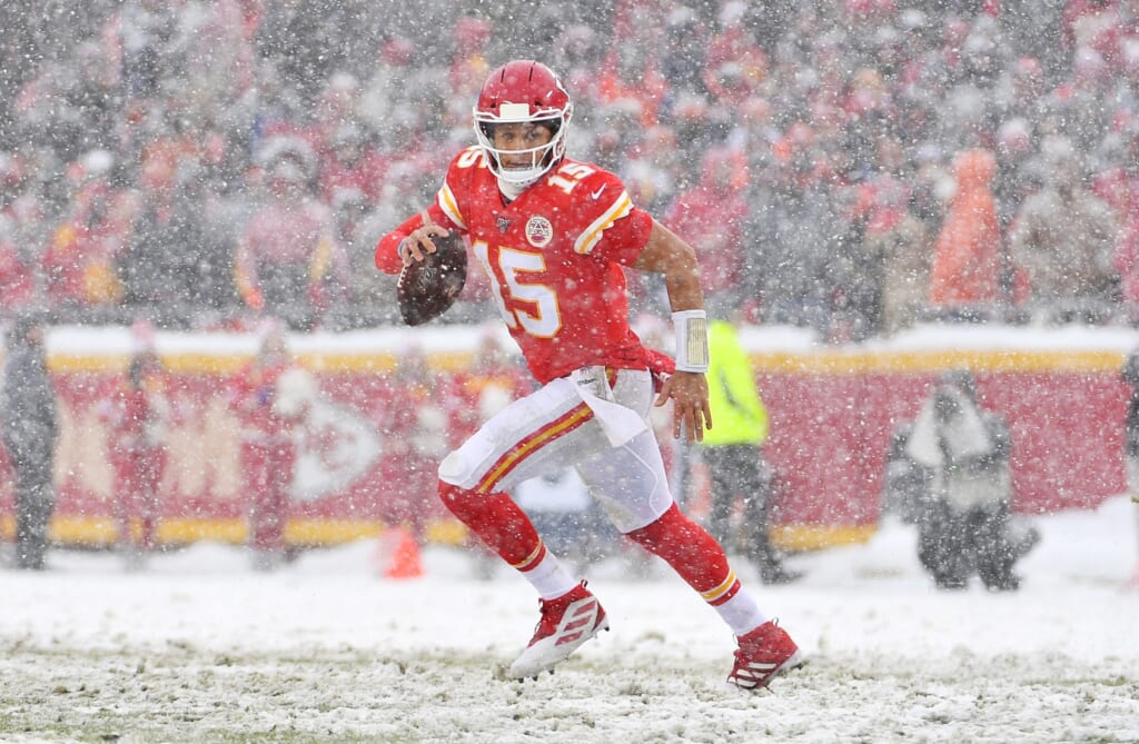 Chiefs QB Patrick Mahomes during NFL game against the Broncos