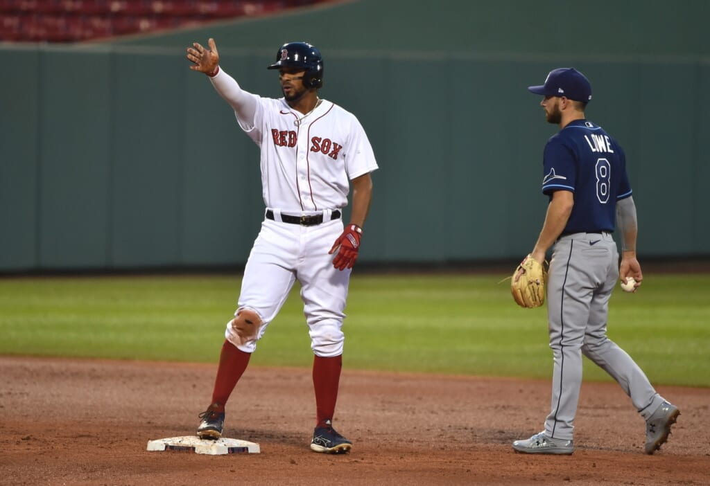 Boston Red Sox star Xander Bogaerts during MLB game against the Rays.