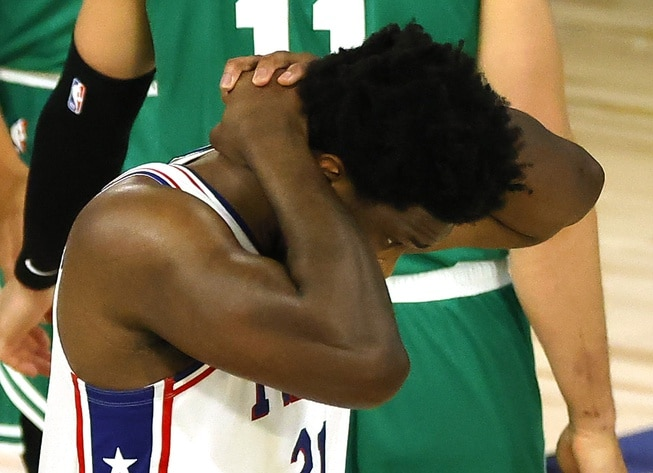 Sixers star Joel Embiid during NBA Playoff game against Celtics
