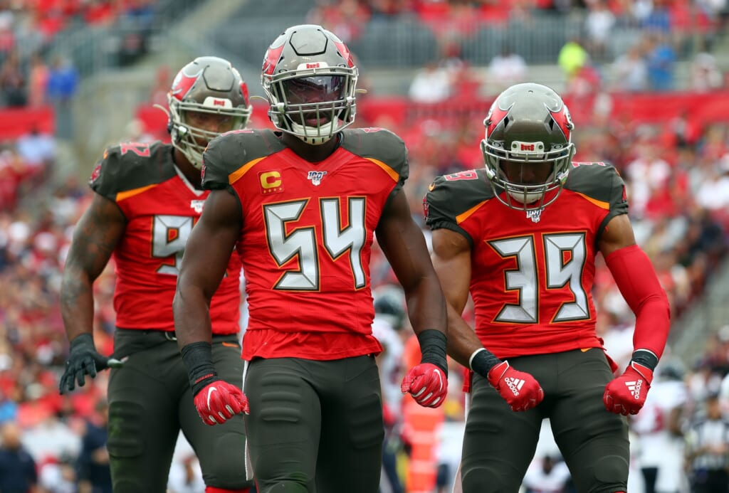 Dec 21, 2019; Tampa, Florida, USA; Tampa Bay Buccaneers outside linebacker Lavonte David (54) reacts as he makes a tackle against the Houston Texans during the first half at Raymond James Stadium. Mandatory Credit: Kim Klement-USA TODAY Sports