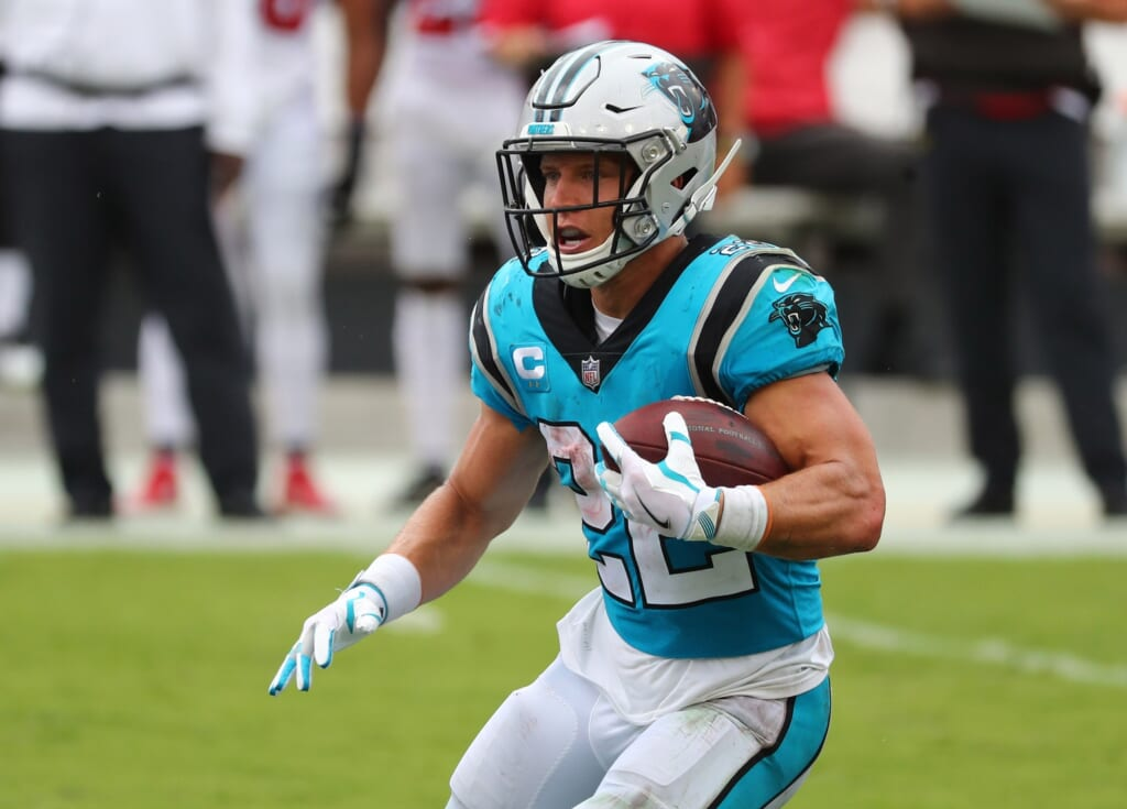 Carolina Panthers RB Christian McCaffrey left Week 2 with an ankle injury