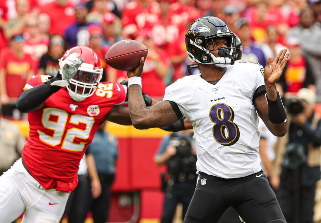 Baltimore Ravens quarterback Lamar Jackson facing the Kansas City Chiefs