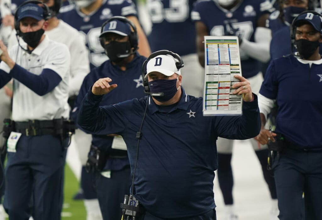 Cowboys head coach Mike McCarthy during game against the Rams.