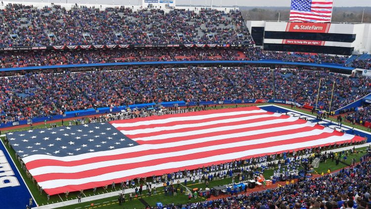 Nov 24, 2019; Orchard Park, NY, USA; General view of an American Flag on the field during the National Anthem prior to the game between the Denver Broncos and the Buffalo Bills at New Era Field. Mandatory Credit: Rich Barnes-USA TODAY Sports