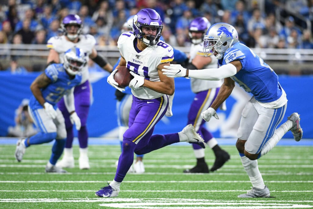 Oct 20, 2019; Detroit, MI, USA; Minnesota Vikings wide receiver Bisi Johnson (81) is chased down by Detroit Lions cornerback Rashaan Melvin (29) during the first half at Ford Field. Mandatory Credit: Tim Fuller-USA TODAY Sports