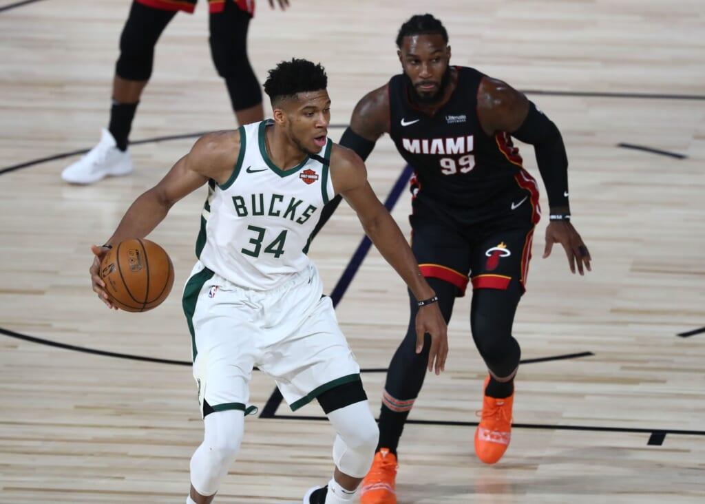 Milwaukee Bucks star Giannis Antetokounmpo vs. the Miami Heat
