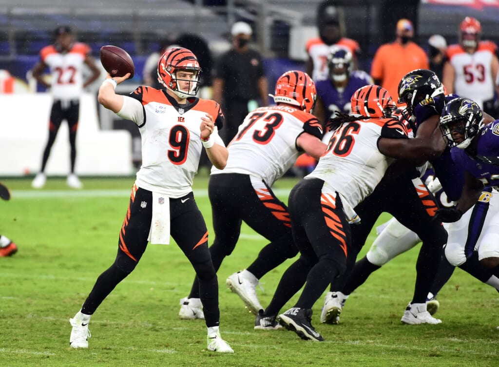 Oct 11, 2020; Baltimore, Maryland, USA; Cincinnati Bengals quarterback Joe Burrow (9) throws a pass in the third quarter against the Baltimore Ravens at M&T Bank Stadium. Mandatory Credit: Evan Habeeb-USA TODAY Sports