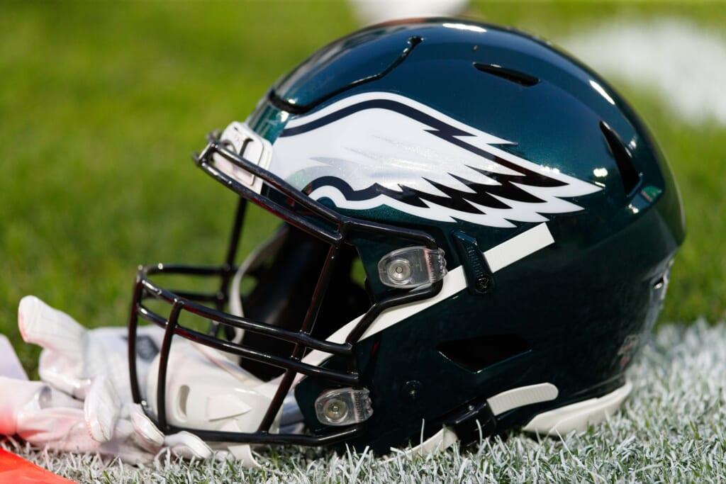 Philadelphia Eagles helmet during game against Packers