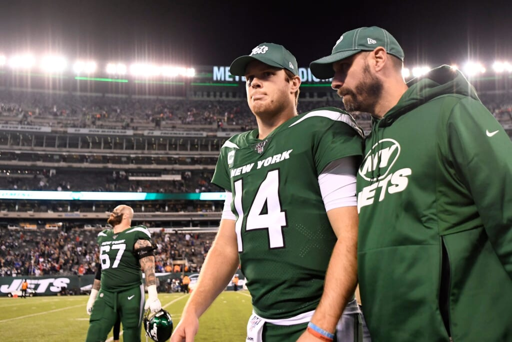 Jets' Sam Darnold and Adam Gase against the Patriots