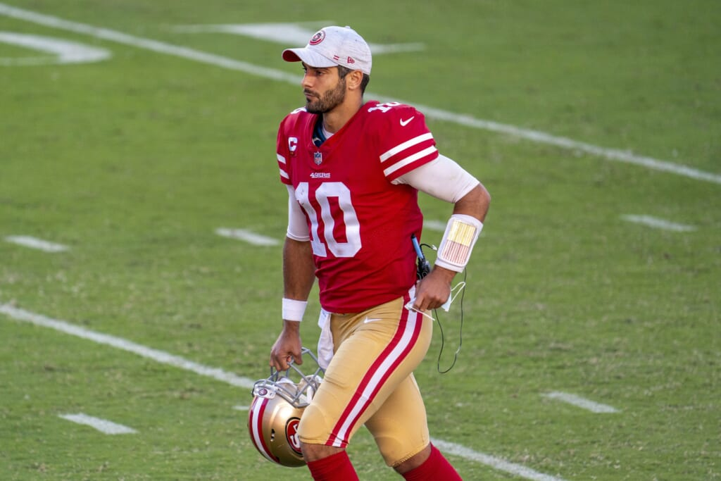 Jimmy Garoppolo of the 49ers against the Dolphins