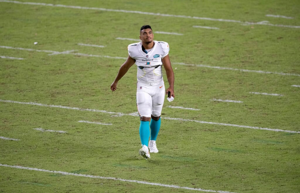 Dolphins QB Tua Tagovailoa during NFL game against Jets