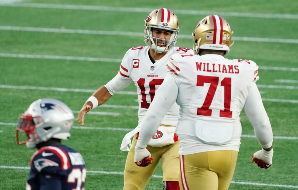 49ers' Jimmy Garoppolo during NFL Week 7 game against the Patriots