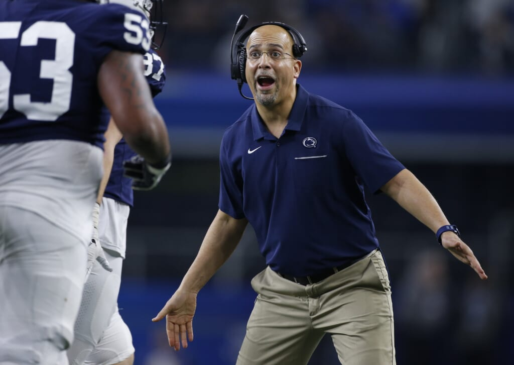 Dec 28, 2019; Arlington, Texas, USA; Penn State Nittany Lions head coach James Franklin reacts to a touchdown in the game against the Memphis Tigers at AT&T Stadium. Mandatory Credit: Tim Heitman-USA TODAY Sports