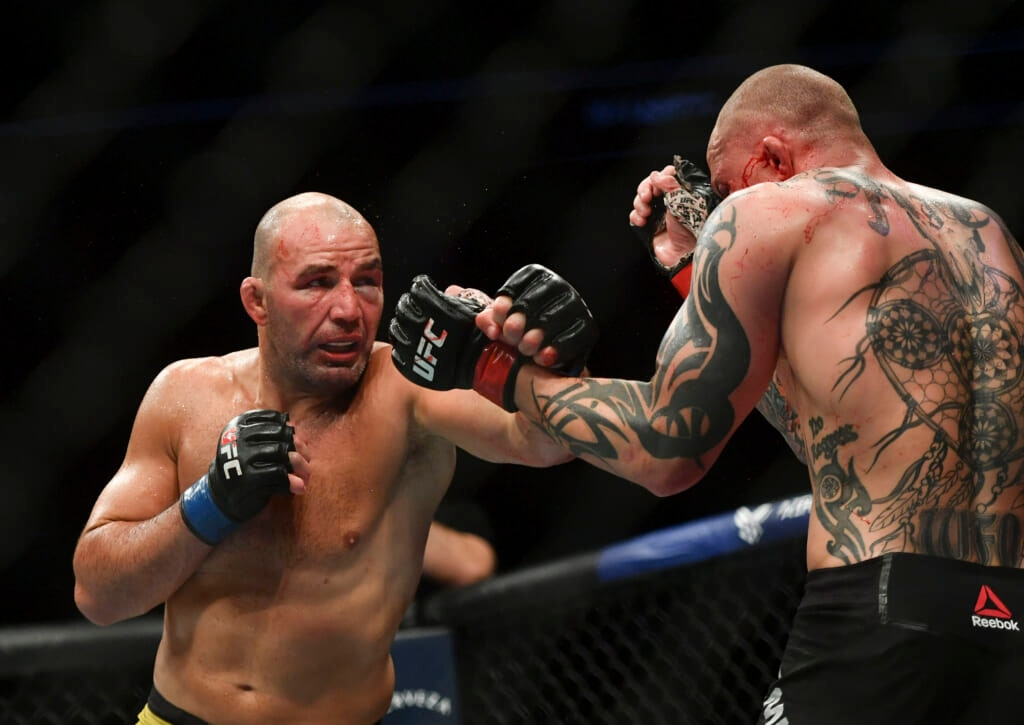 May 13, 2020; Jacksonville, Florida, USA; Anthony Smith (red gloves) fights Glover Teixeira (blue gloves) during UFC Fight Night at VyStar Veterans Memorial Arena. Mandatory Credit: Jasen Vinlove-USA TODAY Sports