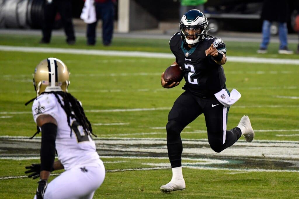 Eagles Jalen Hurts makes history in NFL debut.
