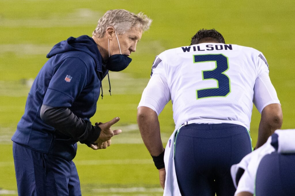 Seahawks coach Pete Carroll and QB Russell Wilson