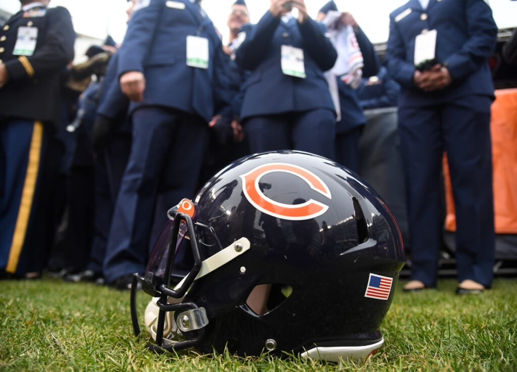 Nov 10, 2019; Chicago, IL, USA; A detailed view of the Chicago Bears helmet before the game against the Detroit Lions at Soldier Field. Mandatory Credit: Mike DiNovo-USA TODAY Sports