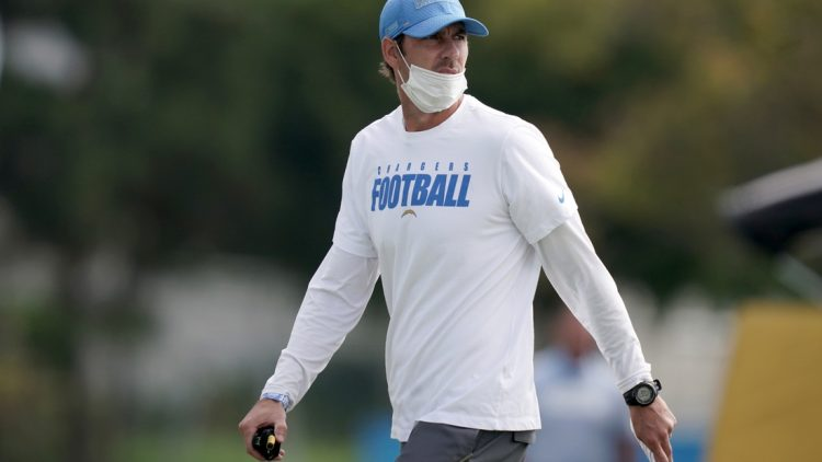 Aug 30, 2020; Los Angeles, California, United States; Los Angeles Chargers offensive coordinator Shane Steichen during training camp at the Jack Hammett Sports Complex. Mandatory Credit: Kirby Lee-USA TODAY Sports